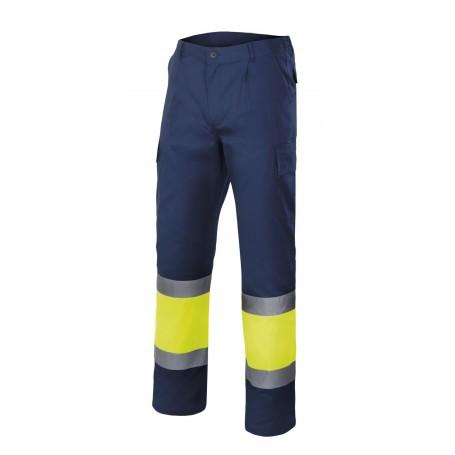 Pantalón de trabajo alta visibilidad marino-amarillo Velilla 303003
