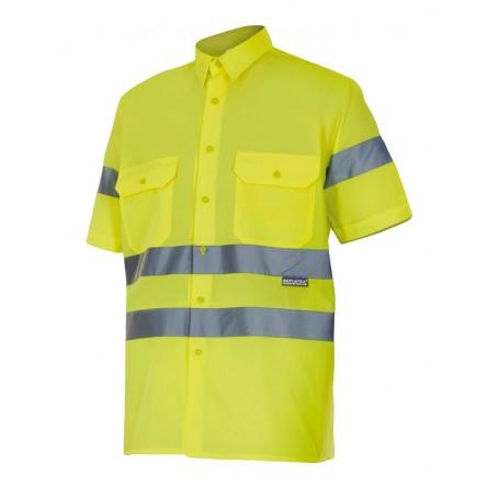 Camisa mangas cortas amarilla con cintas reflectantes Velilla 141