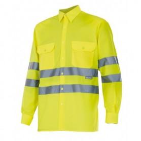 Camisa mangas largas fluor con cintas reflectantes Velilla 143