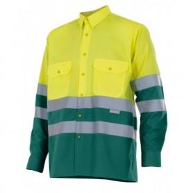 Camisa mangas largas bicolor-cintas reflectantes Velilla 144