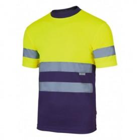 Camiseta fluor amarilla-marino alta visibilidad Velilla 305506
