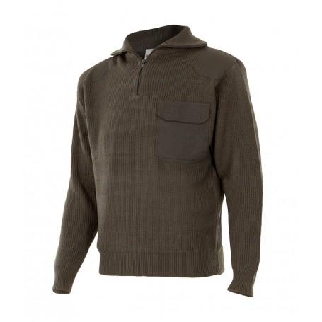 Jersey de trabajo punto grueso barato con cuello alto Velilla 101