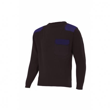 Jersey de punto grueso de cuello redondo hombros bicolor Velilla R100