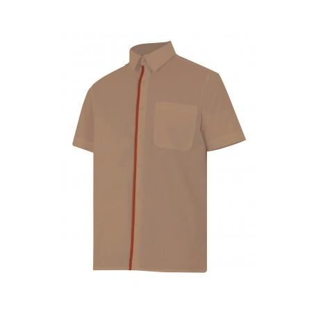 Camisa bicolor de manga corta hostelería-oficina barata Velilla P531