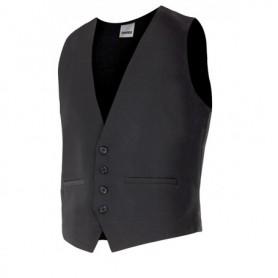 Chaleco de camarero negro sin mangas sin solapa Velilla 410